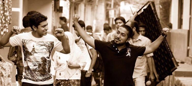 Nivin Pauly, left, with Vineeth during the shooting of Thattathin Marayathu.